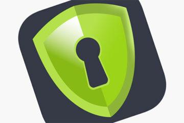 RusVPN логотип с замочной скважиной на зеленом щите