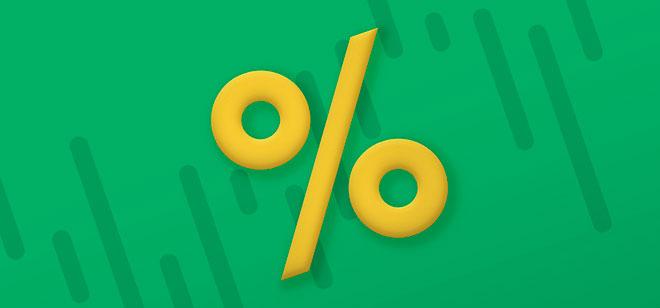 процент на зеленом фоне